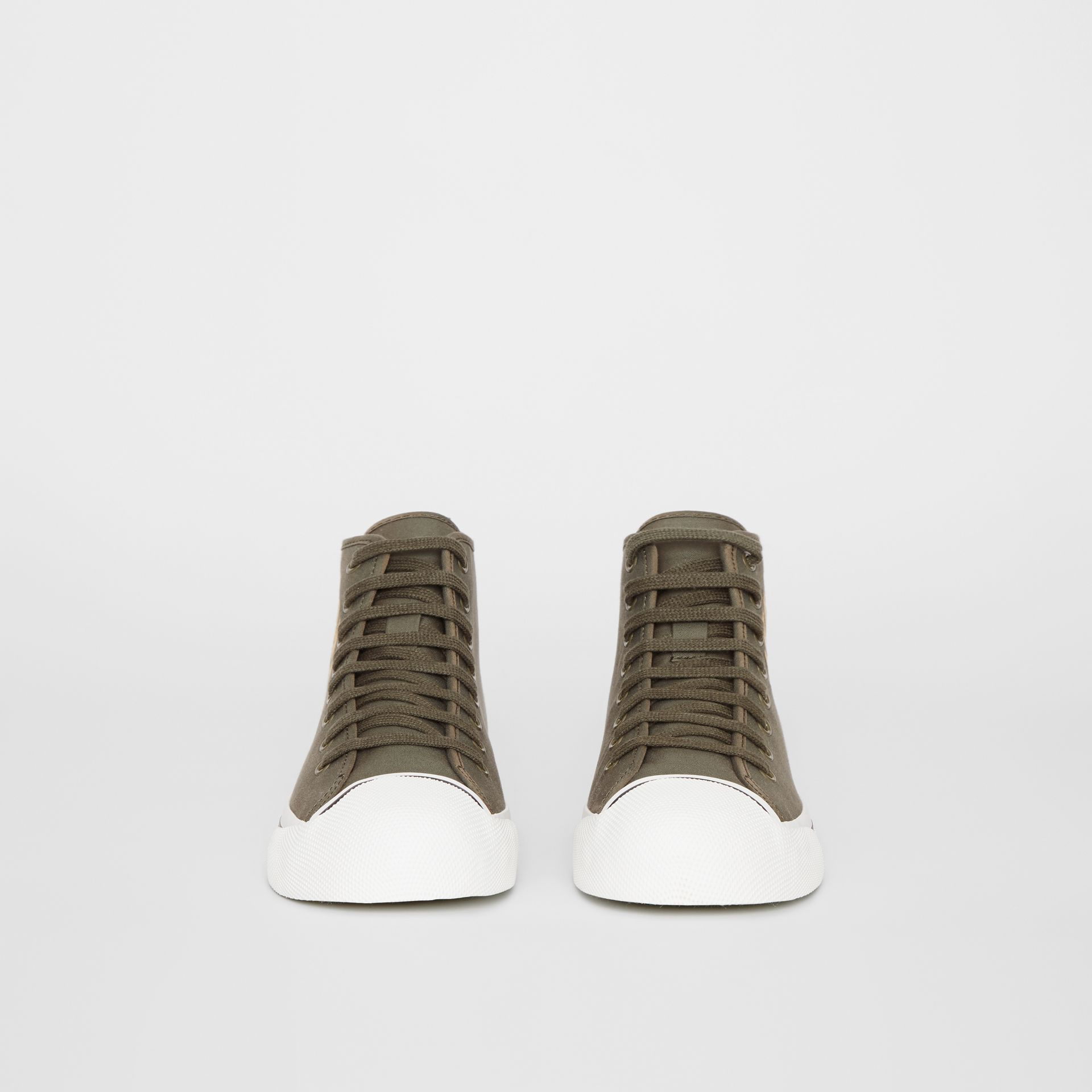 Archive Logo Cotton Gabardine High-top Sneakers in Oregano - Men | Burberry - gallery image 3