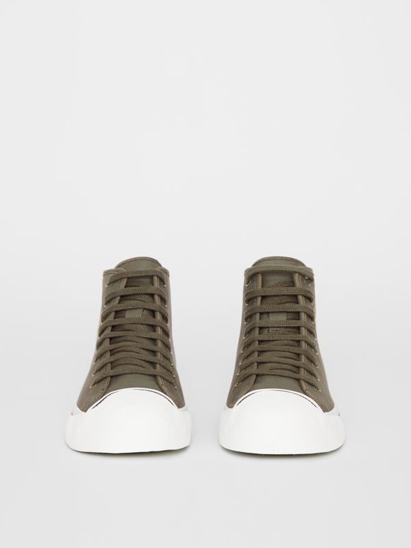 Archive Logo Cotton Gabardine High-top Sneakers in Oregano - Men | Burberry - cell image 3