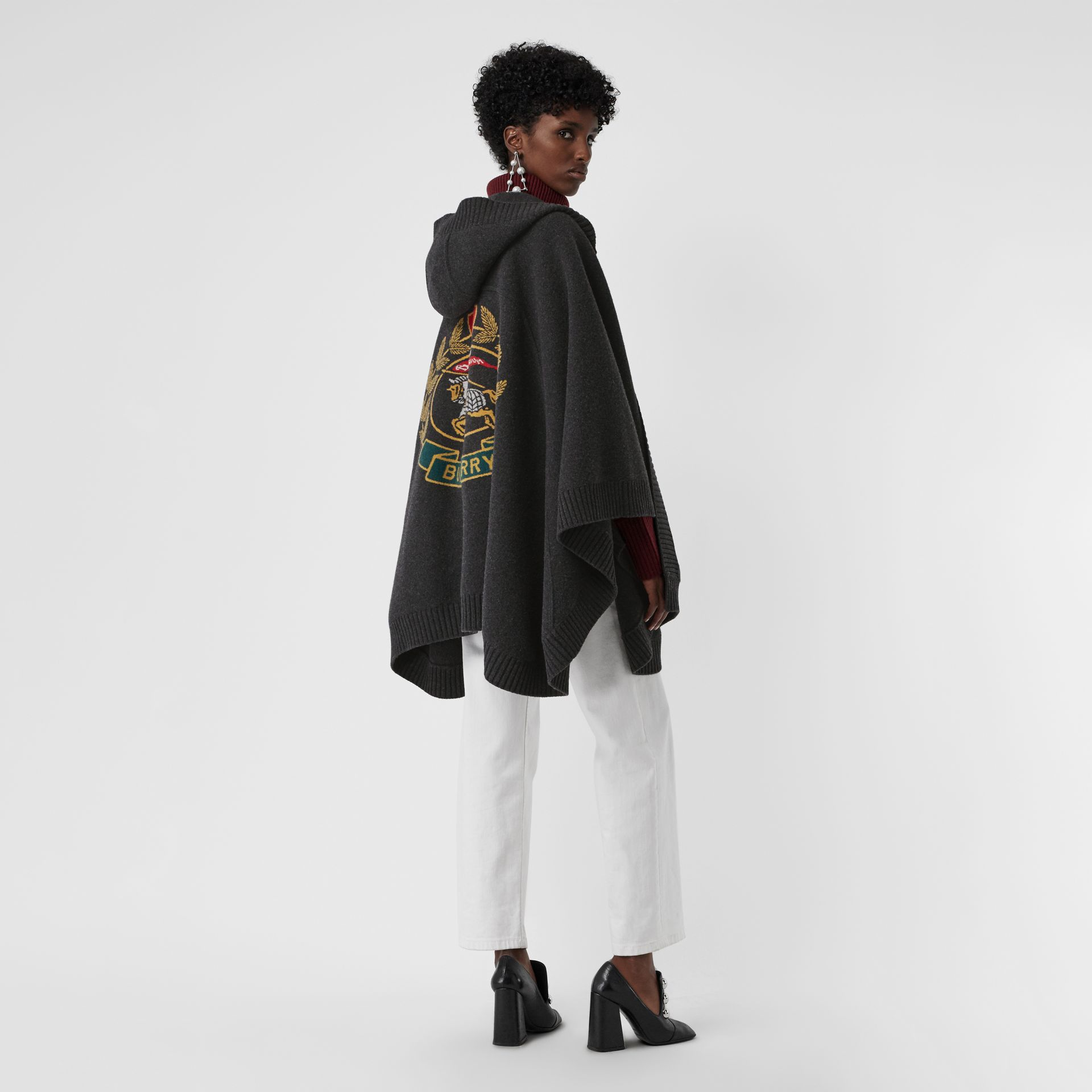 Crest Wool Blend Jacquard Hooded Cape in Charcoal - Women | Burberry Australia - gallery image 0