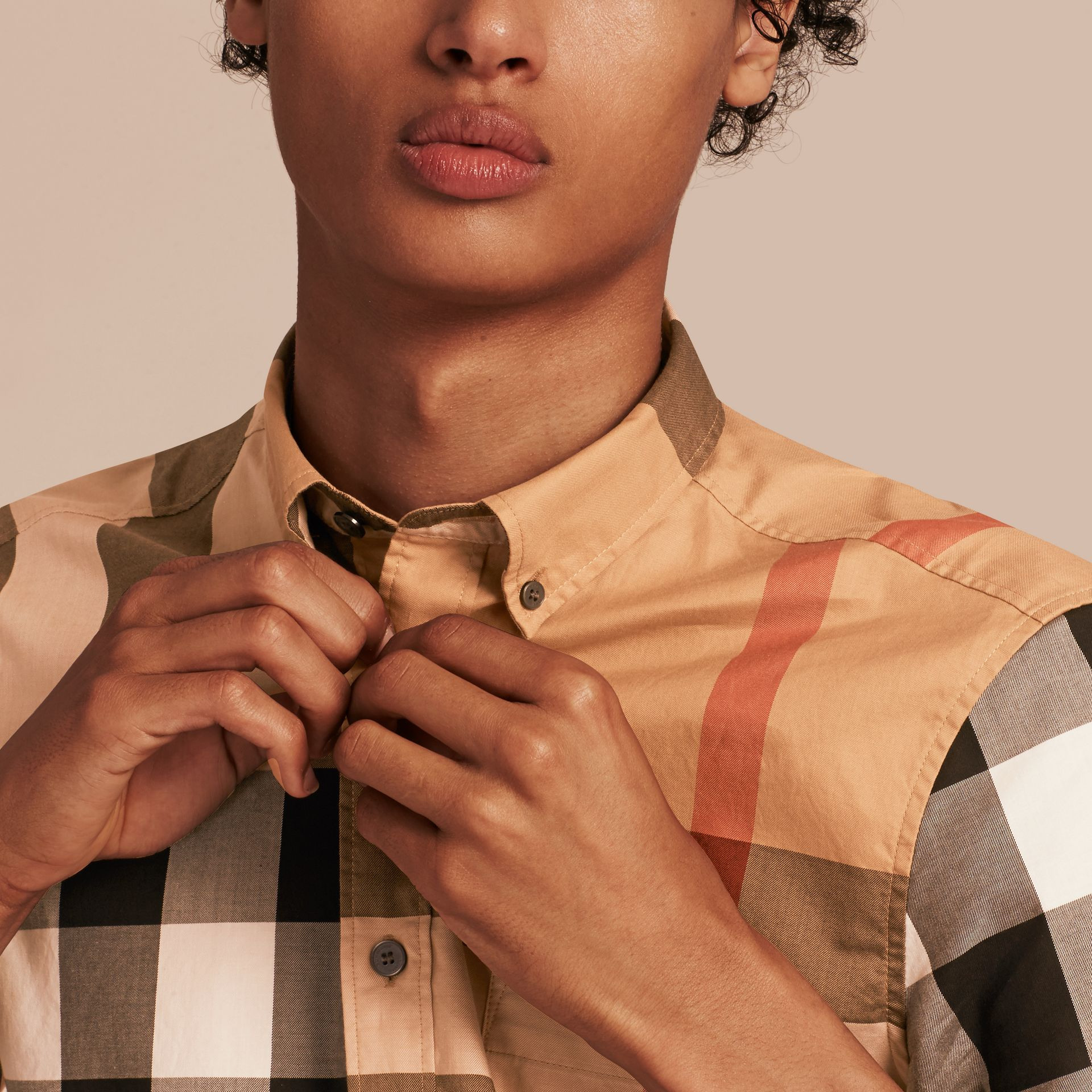 Camel Short-sleeved Check Cotton Shirt Camel - gallery image 5