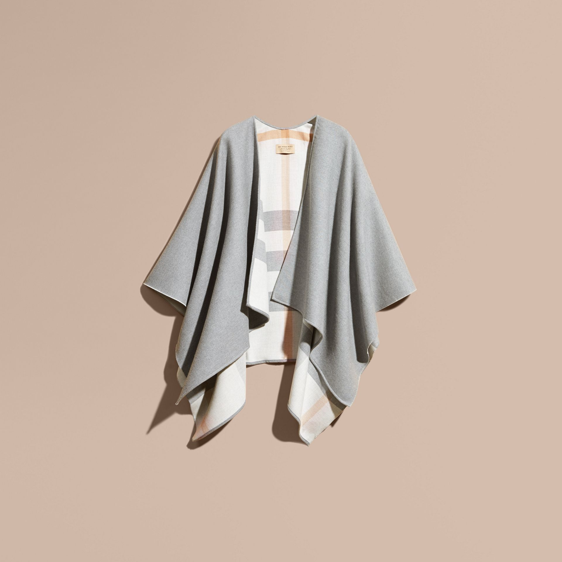 Reversible Check Merino Wool Poncho Light Grey - gallery image 4