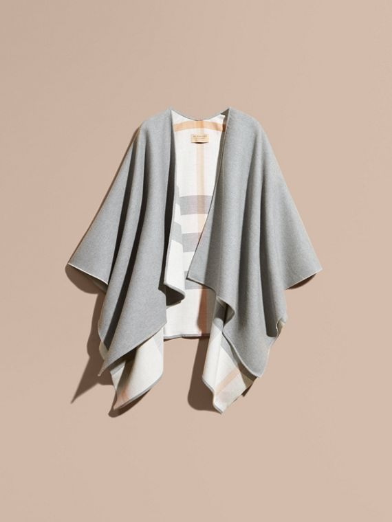 Reversible Check Merino Wool Poncho Light Grey - cell image 3