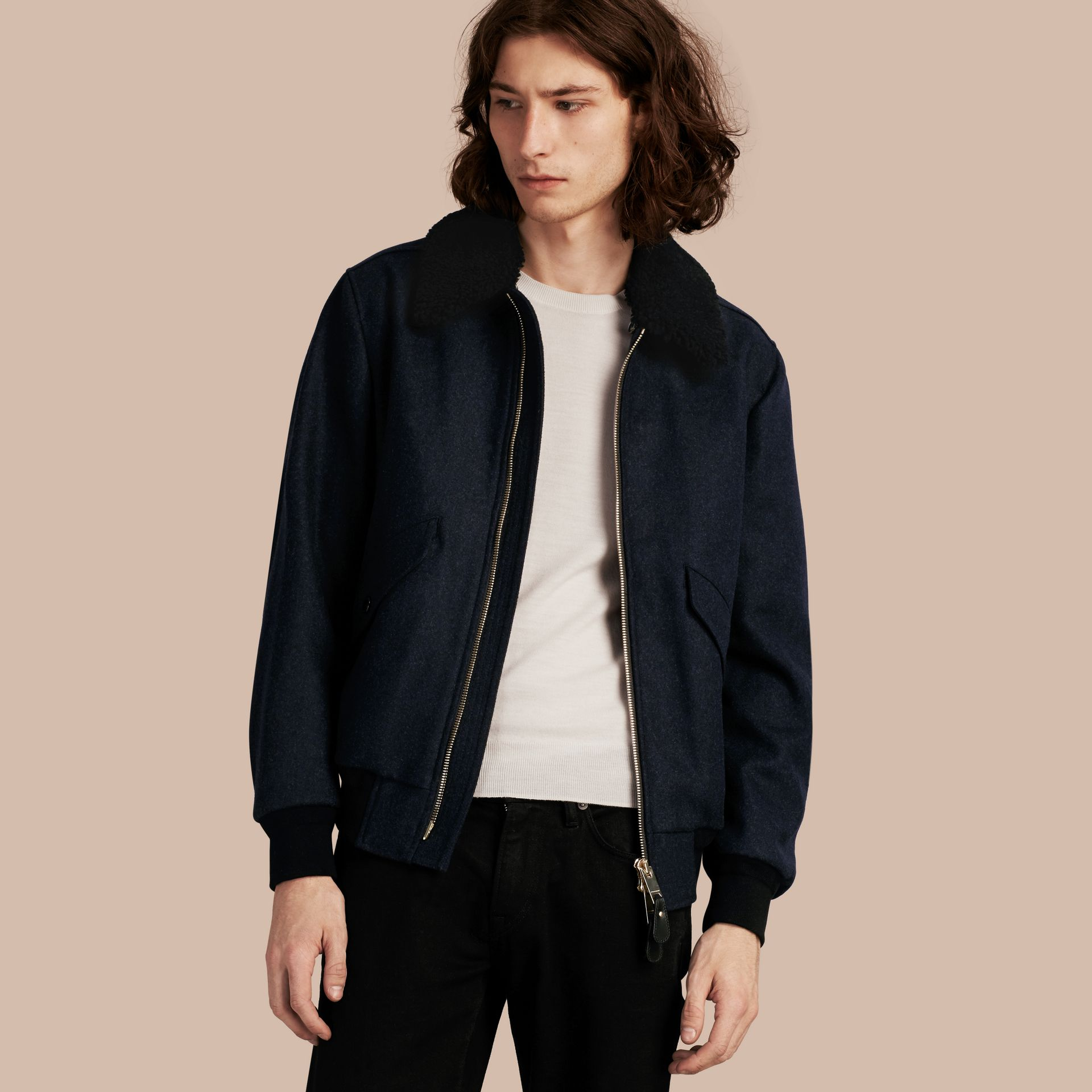 Navy melange Lightweight Wool Bomber Jacket with Detachable Shearling Top Collar - gallery image 1