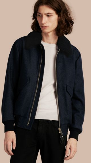 Lightweight Wool Bomber Jacket with Detachable Shearling Top Collar