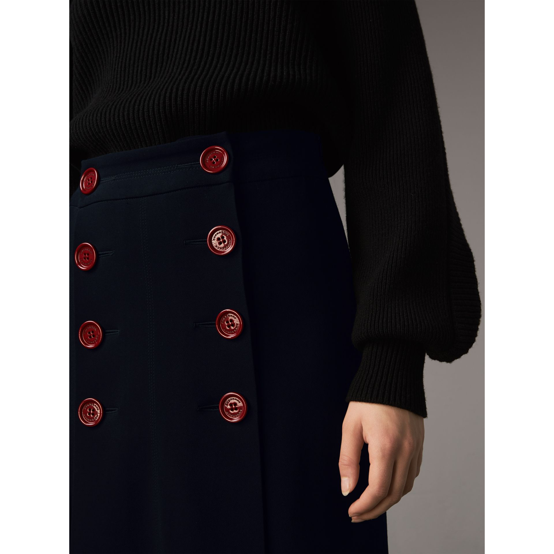 Resin Button Double-breasted Tailored Skirt in Navy - Women | Burberry Singapore - gallery image 2