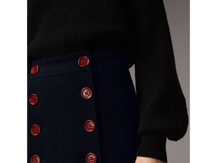 Resin Button Double-breasted Tailored Skirt in Navy - Women | Burberry Singapore - cell image 1