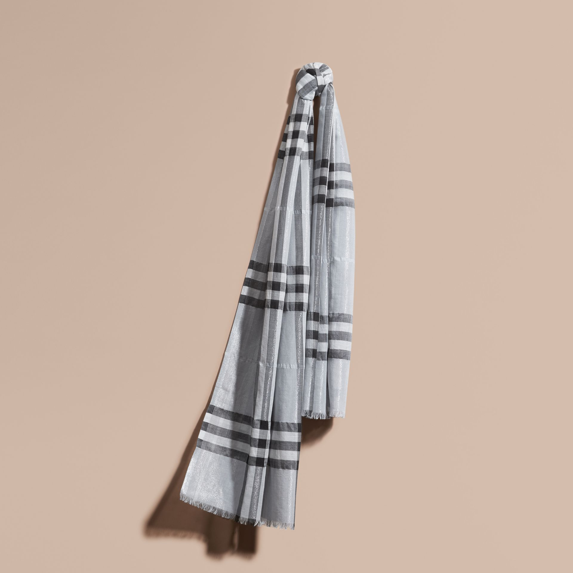 Metallic Check Silk and Wool Scarf in Dusty Blue/silver - gallery image 1