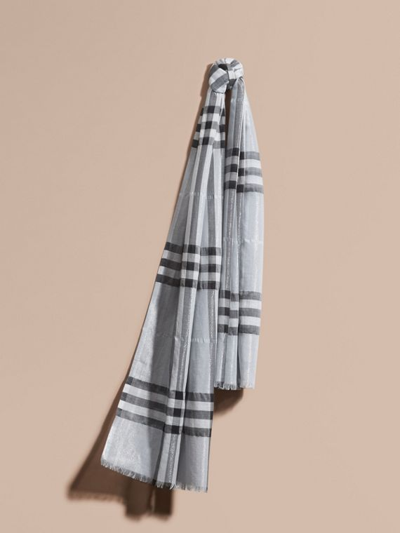 Metallic Check Silk and Wool Scarf in Dusty Blue/silver