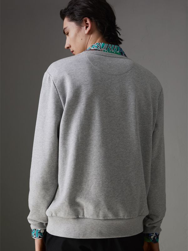 Graffitied Ticket Print Sweatshirt in Pale Grey Melange - Men | Burberry Singapore - cell image 2