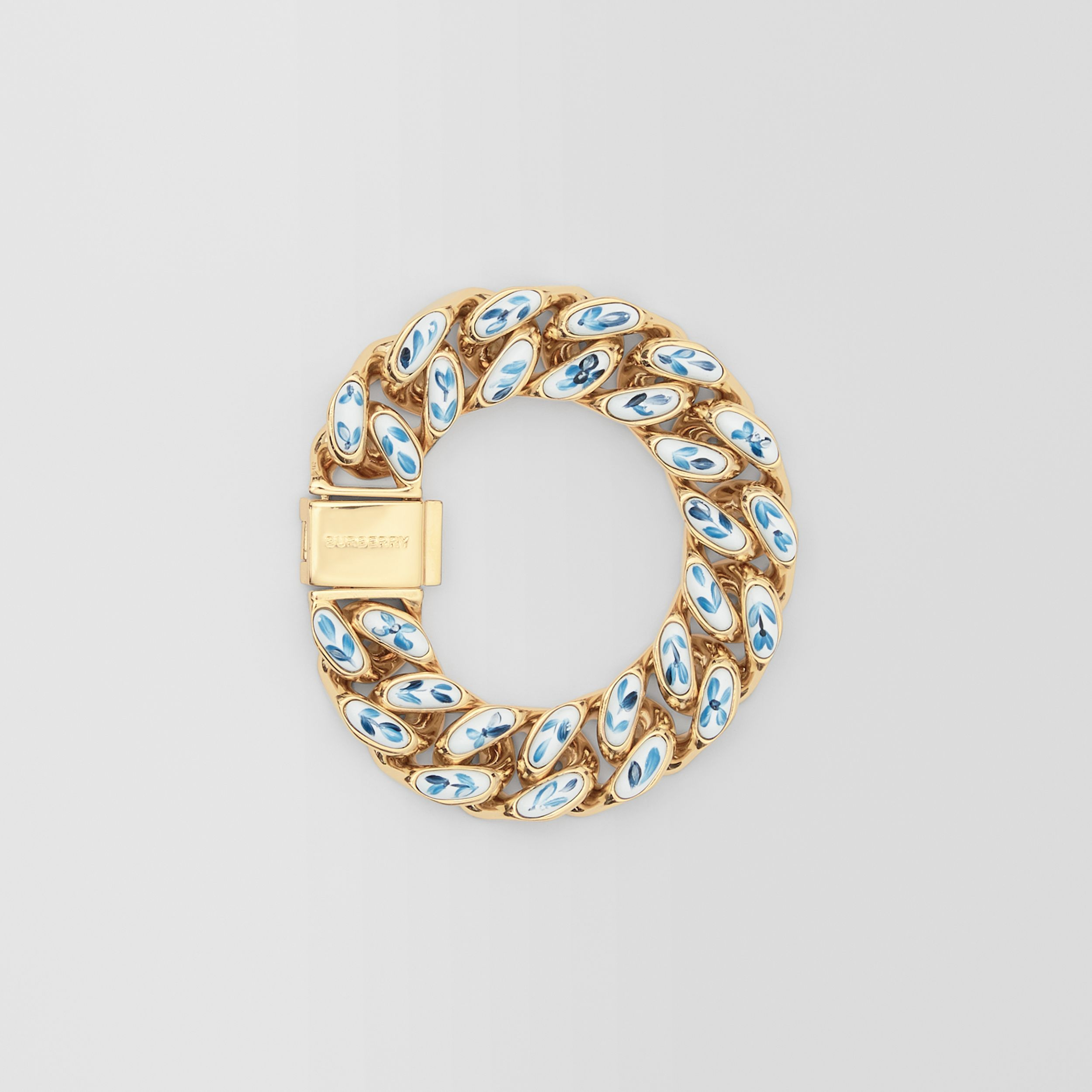 Enamel Detail Gold-plated Chain-link Bracelet in Light Gold/white/blue | Burberry - 1