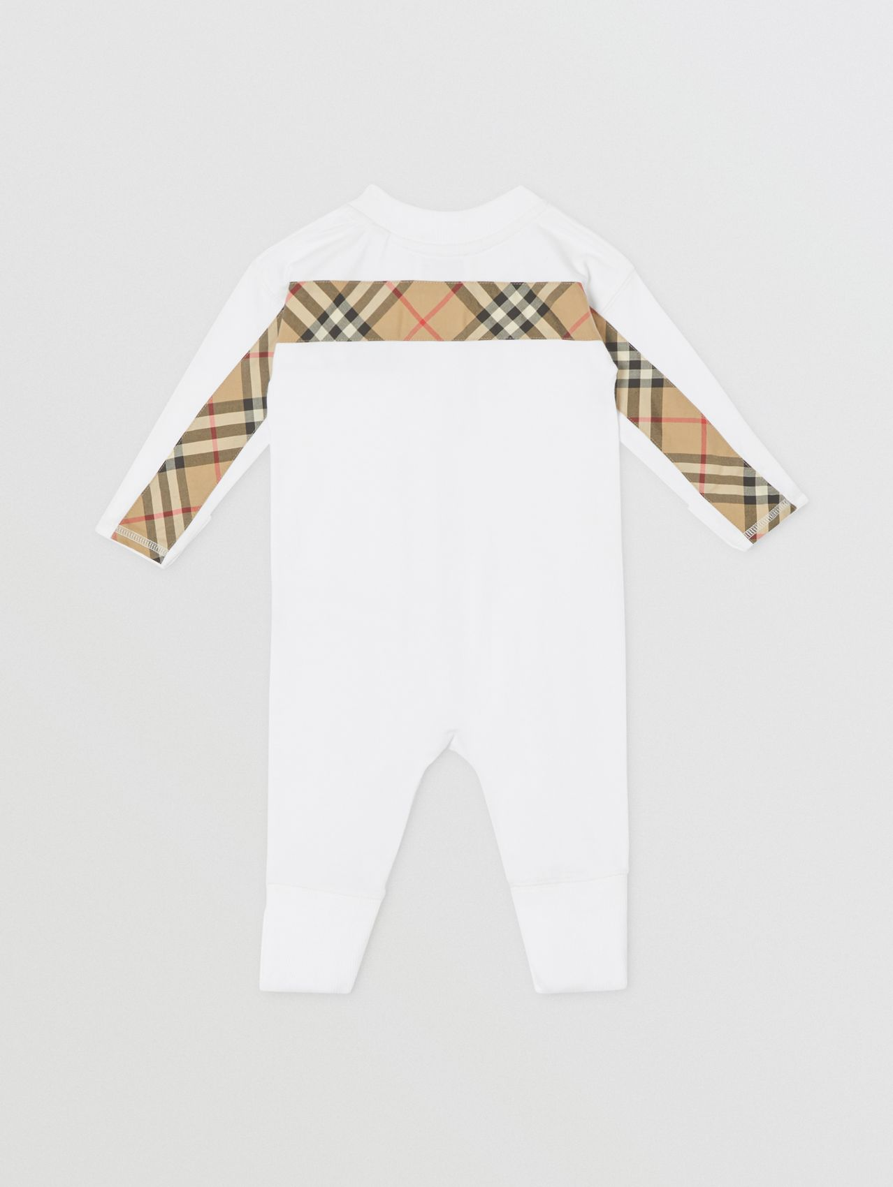 Check Trim Organic Cotton Three-piece Baby Gift Set in White