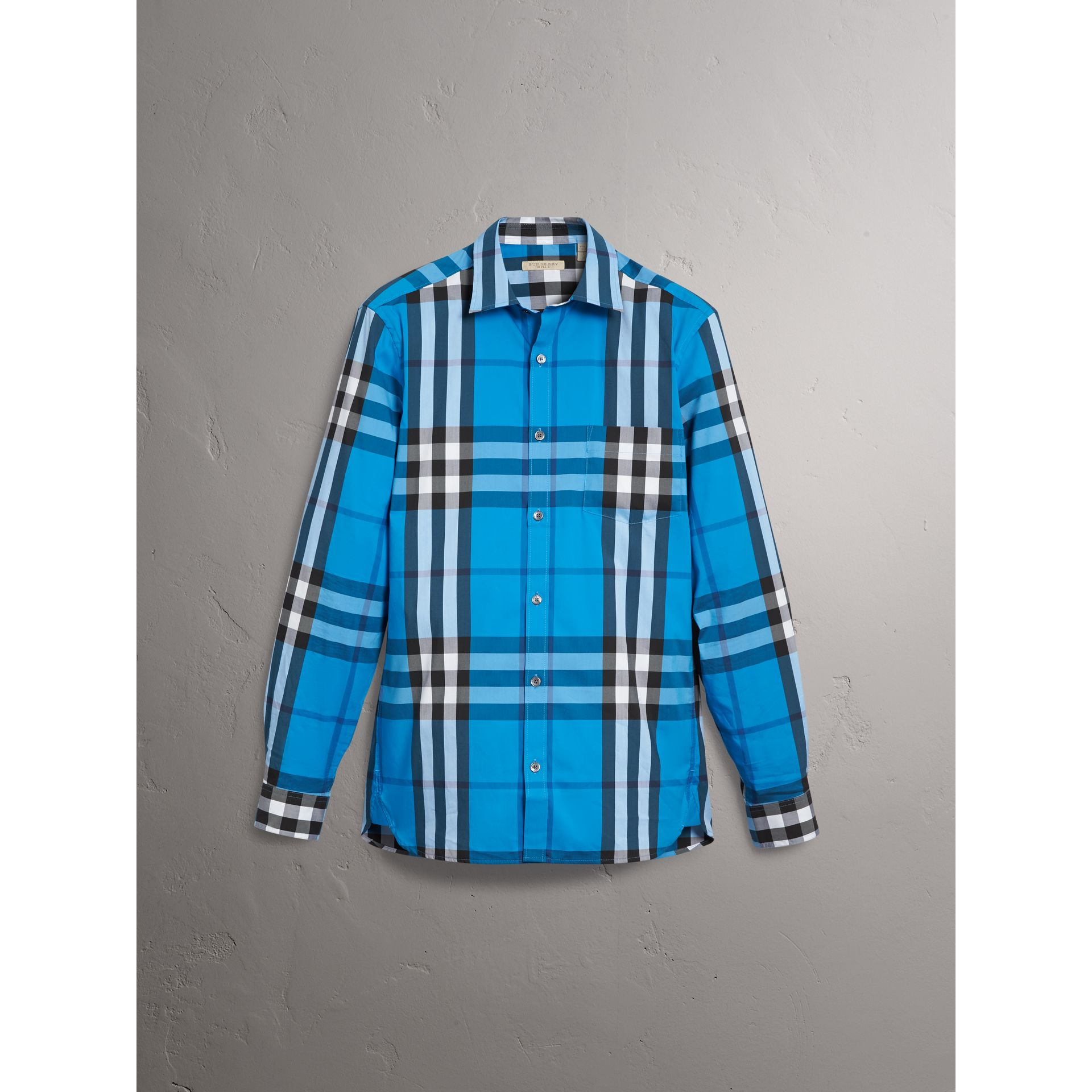 Check Stretch Cotton Shirt in Bright Blue - Men | Burberry Australia - gallery image 3