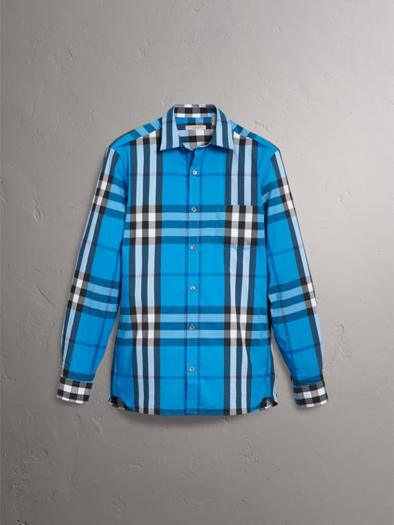 Check Stretch Cotton Shirt in Bright Blue