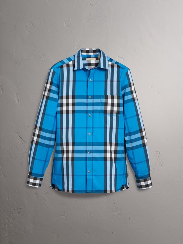 Check Stretch Cotton Shirt in Bright Blue - Men | Burberry Singapore - cell image 3