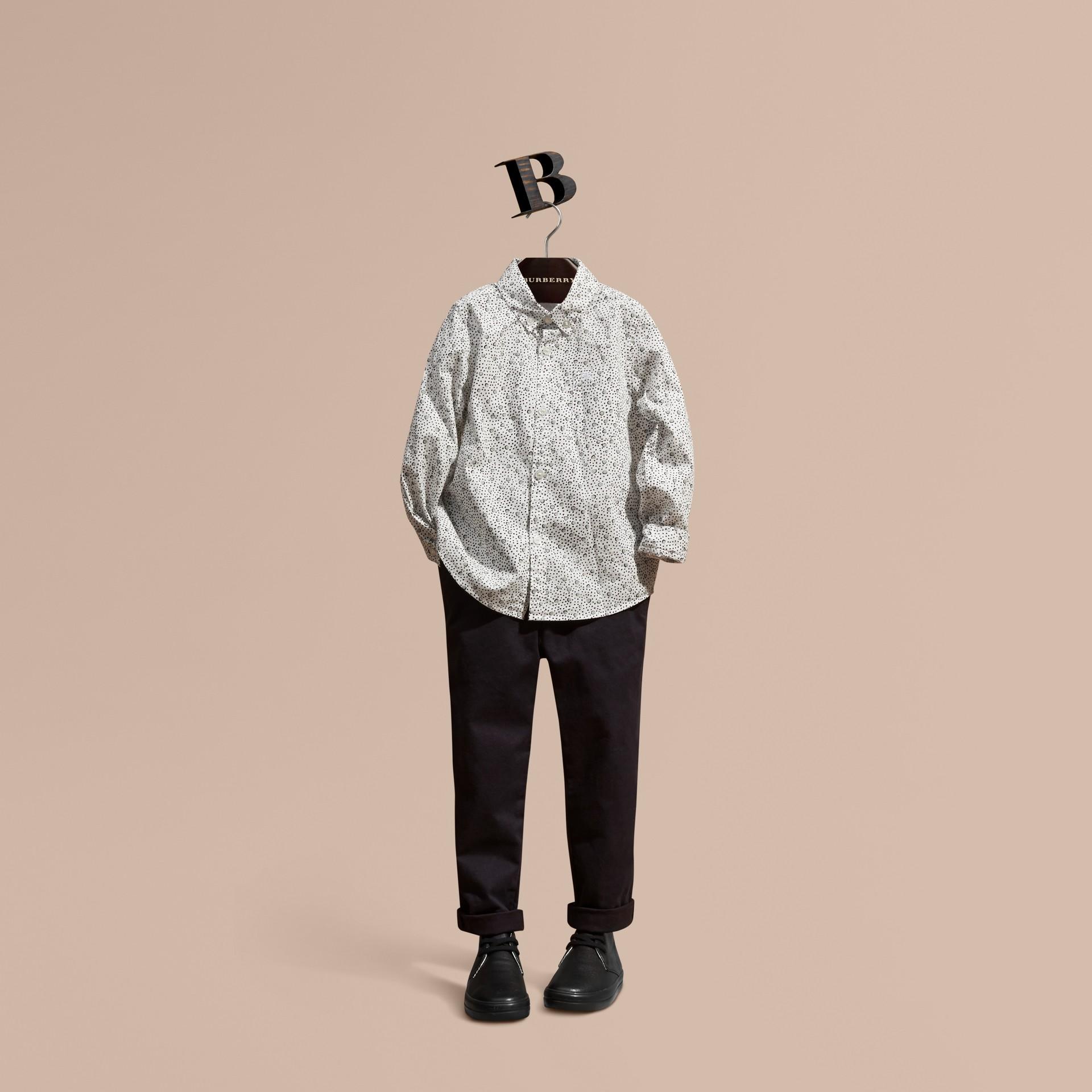 Branco Camisa de algodão com estampa de poás Branco - galeria de imagens 1