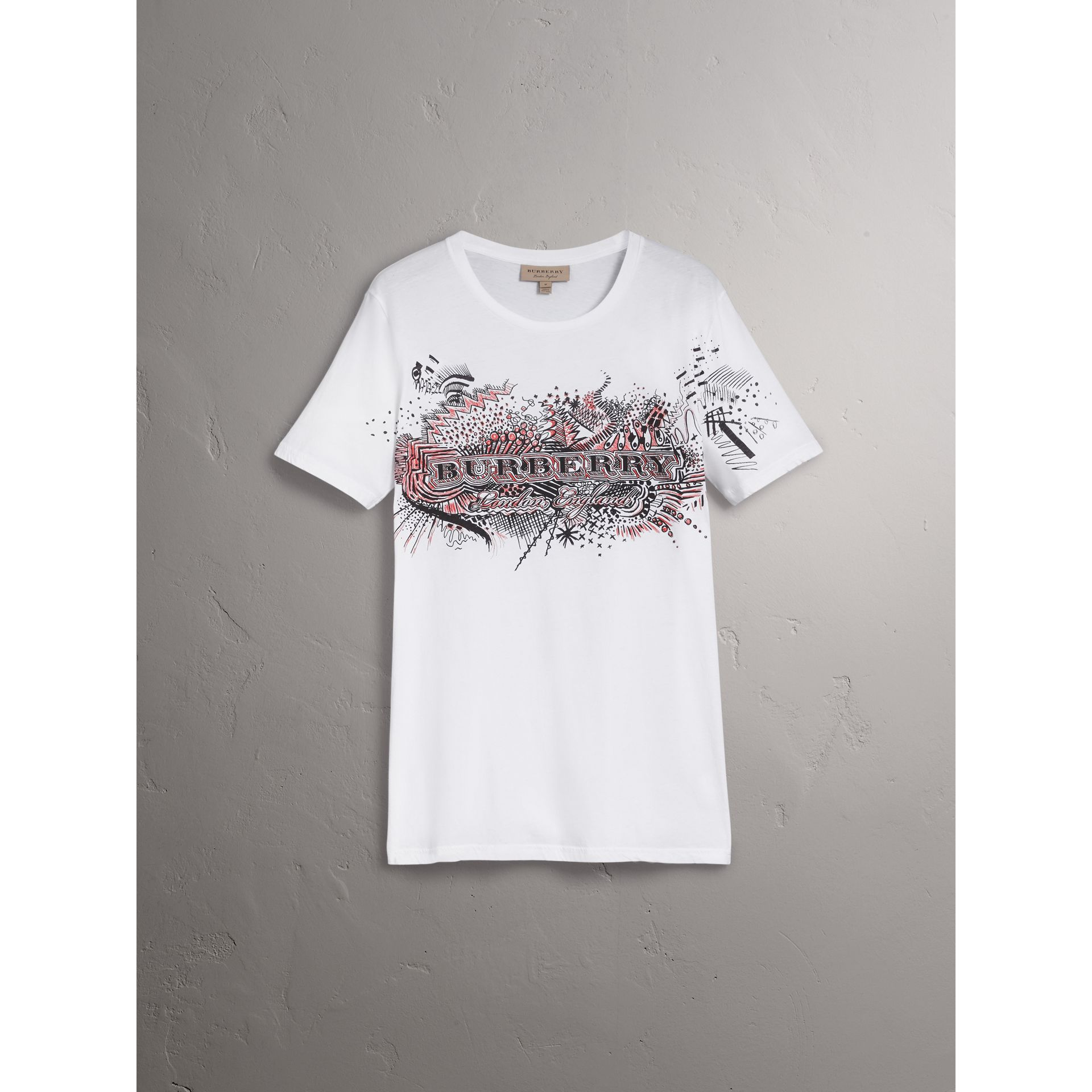Doodle Print Cotton T-Shirt in White - Men | Burberry - gallery image 3