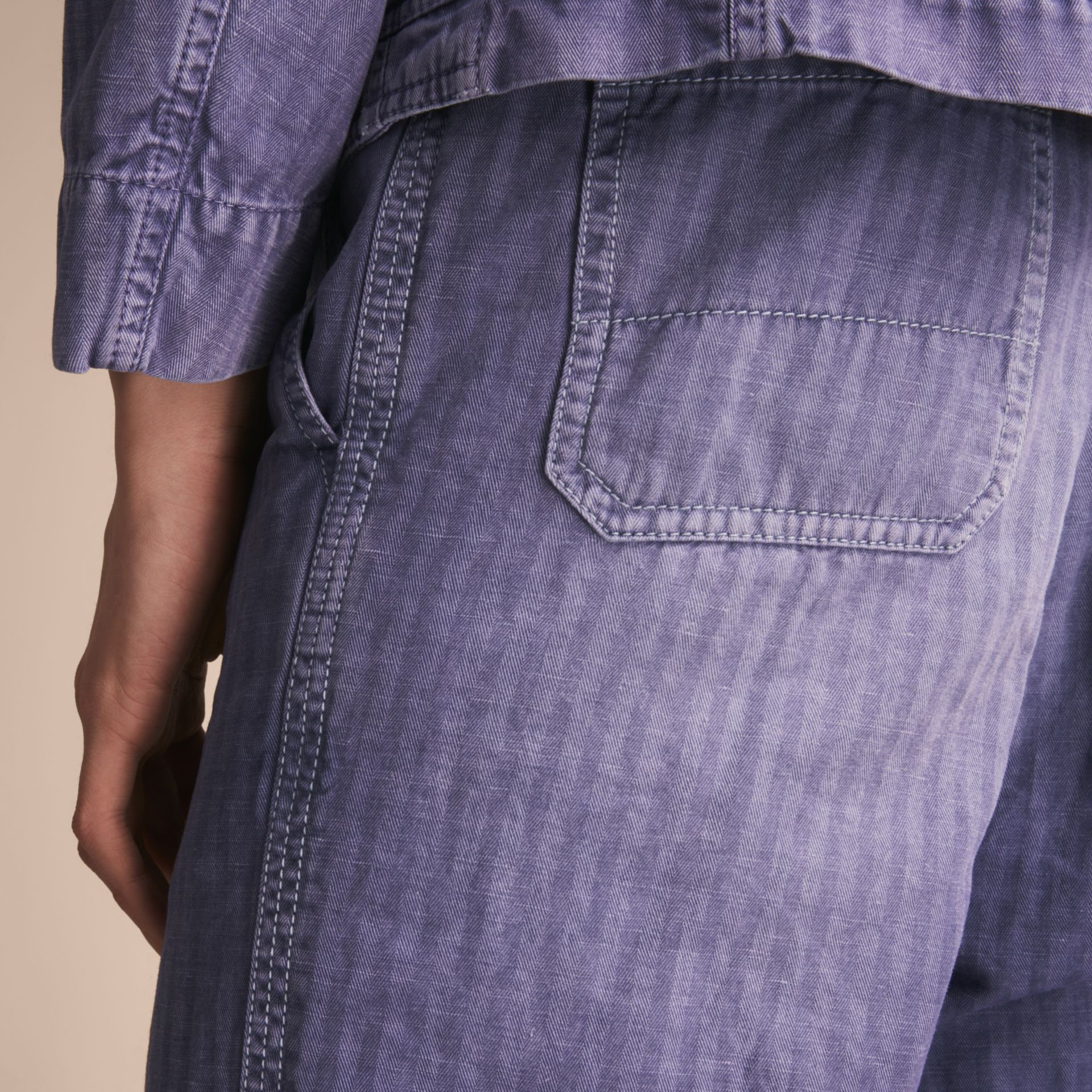 Herringbone Cotton Linen Cropped Workwear Trousers in Indigo - Men | Burberry United States - gallery image 4