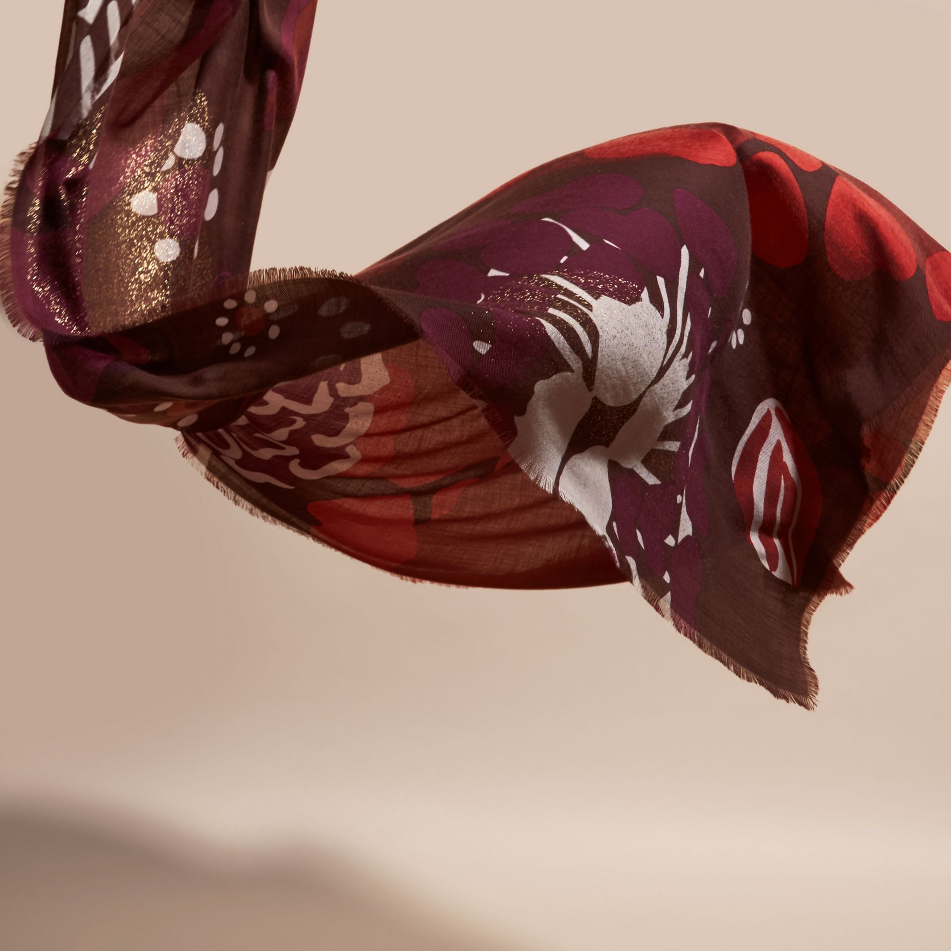 Deep burgundy Floral and Gold Foil Lightweight Cashmere Scarf Deep Burgundy - gallery image 4