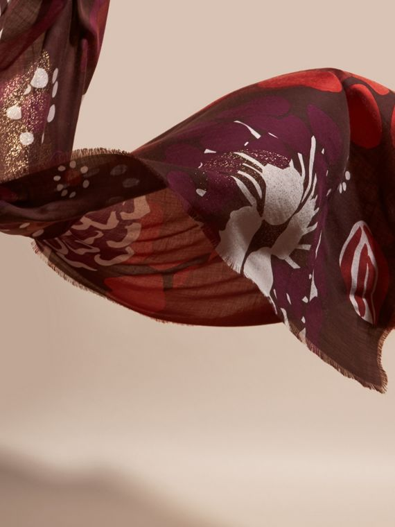 Deep burgundy Floral and Gold Foil Lightweight Cashmere Scarf Deep Burgundy - cell image 3