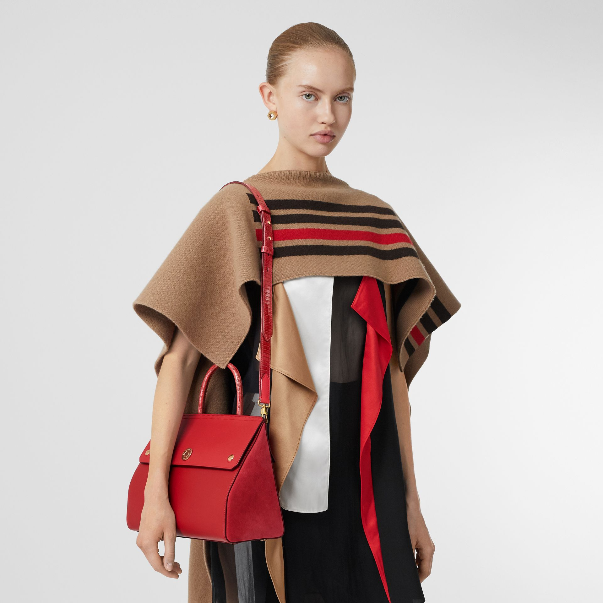 Small Leather and Suede Elizabeth Bag in Bright Military Red - Women | Burberry Canada - gallery image 2