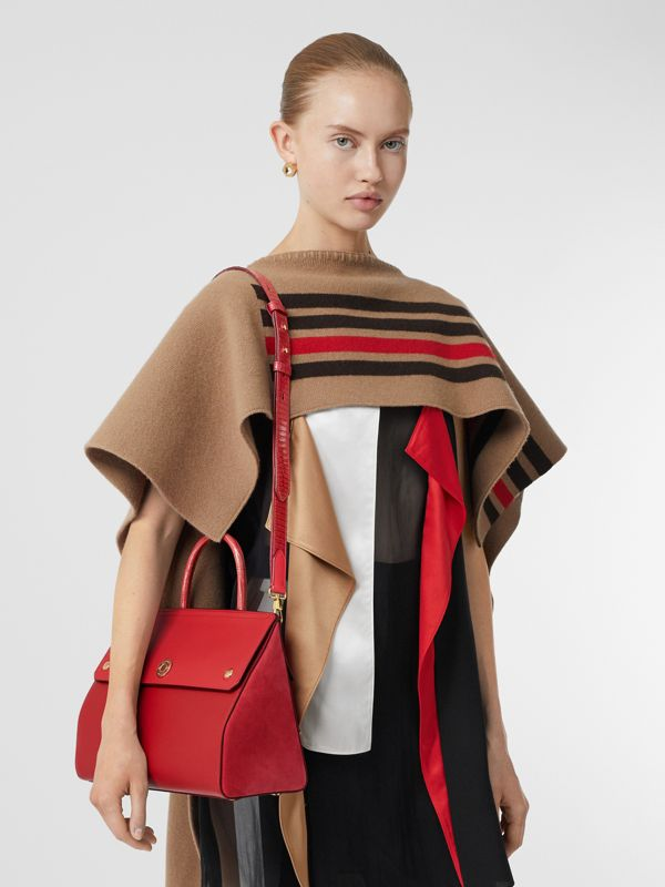 Small Leather and Suede Elizabeth Bag in Bright Military Red - Women | Burberry Canada - cell image 2