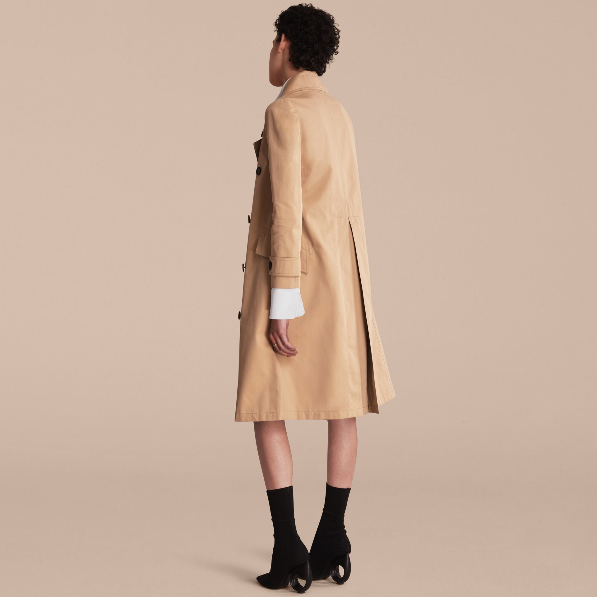 Curved Closure Cotton Gabardine Coat in Honey - Women | Burberry - gallery image 3