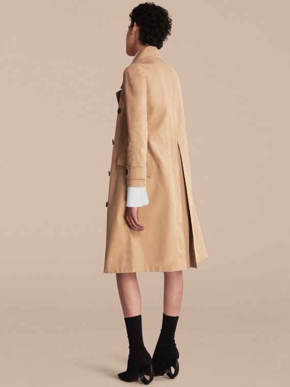 Curved Closure Cotton Gabardine Coat in Honey - Women | Burberry - cell image 2