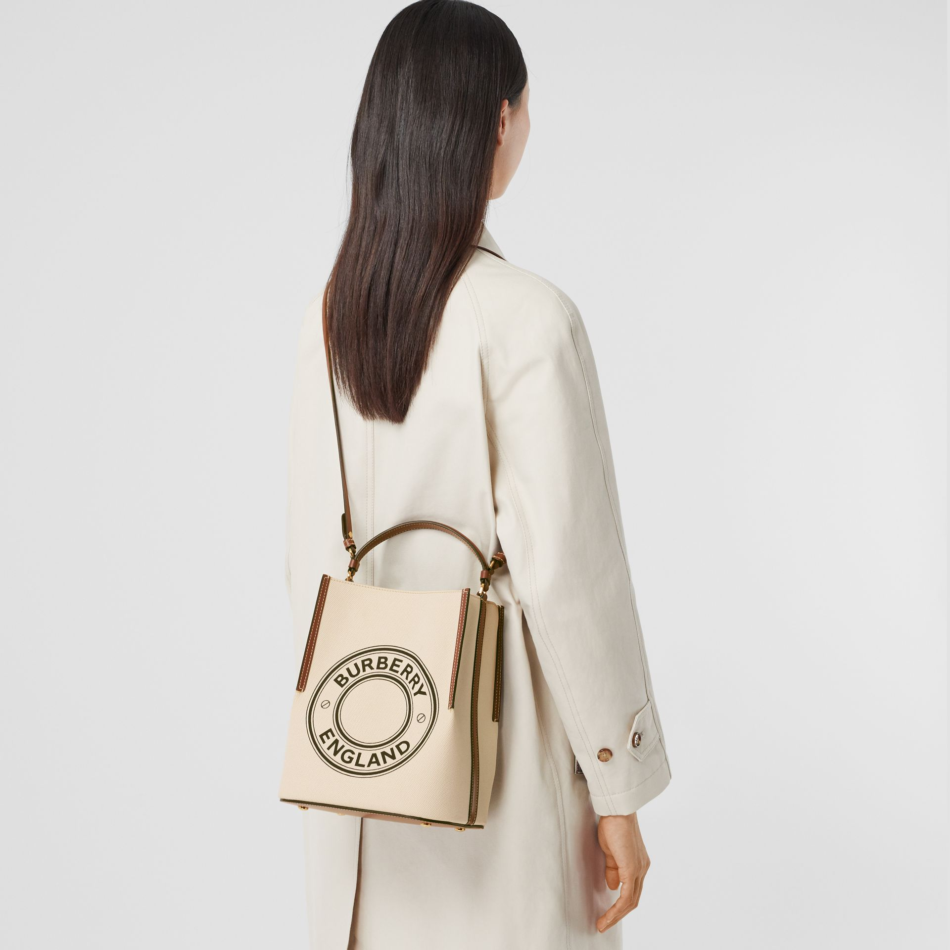 Small Logo Graphic Cotton Canvas Peggy Bucket Bag in Natural - Women | Burberry - gallery image 7