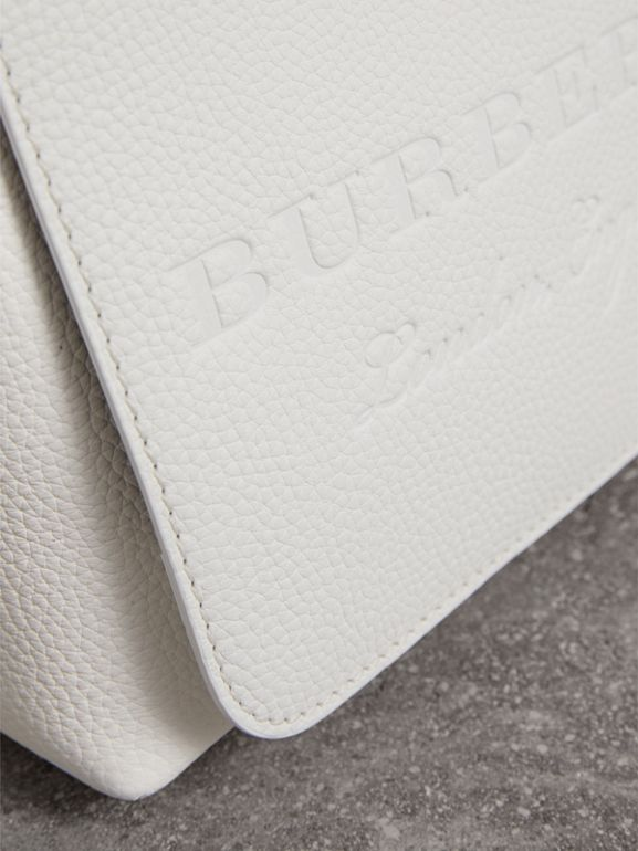 Small Embossed Leather Messenger Bag in Chalk White | Burberry - cell image 1