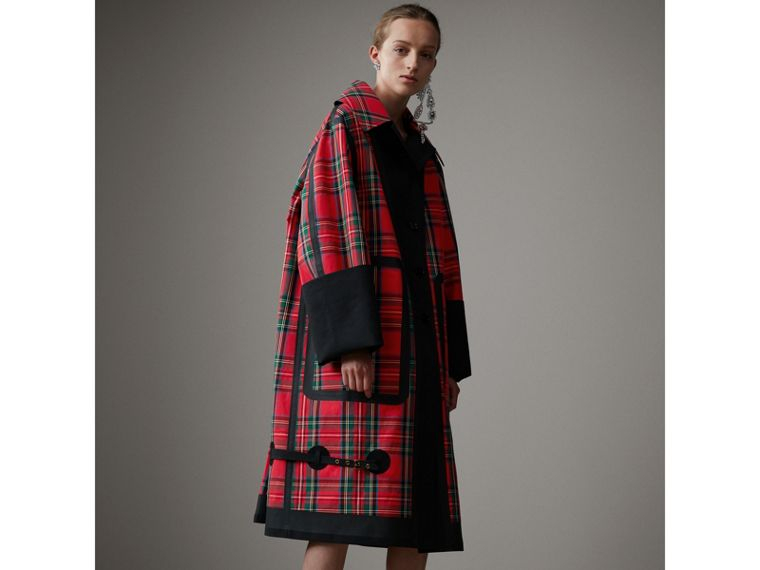 Tartan Bonded Cotton Seam-sealed Oversized Car Coat in Black - Women | Burberry - cell image 4