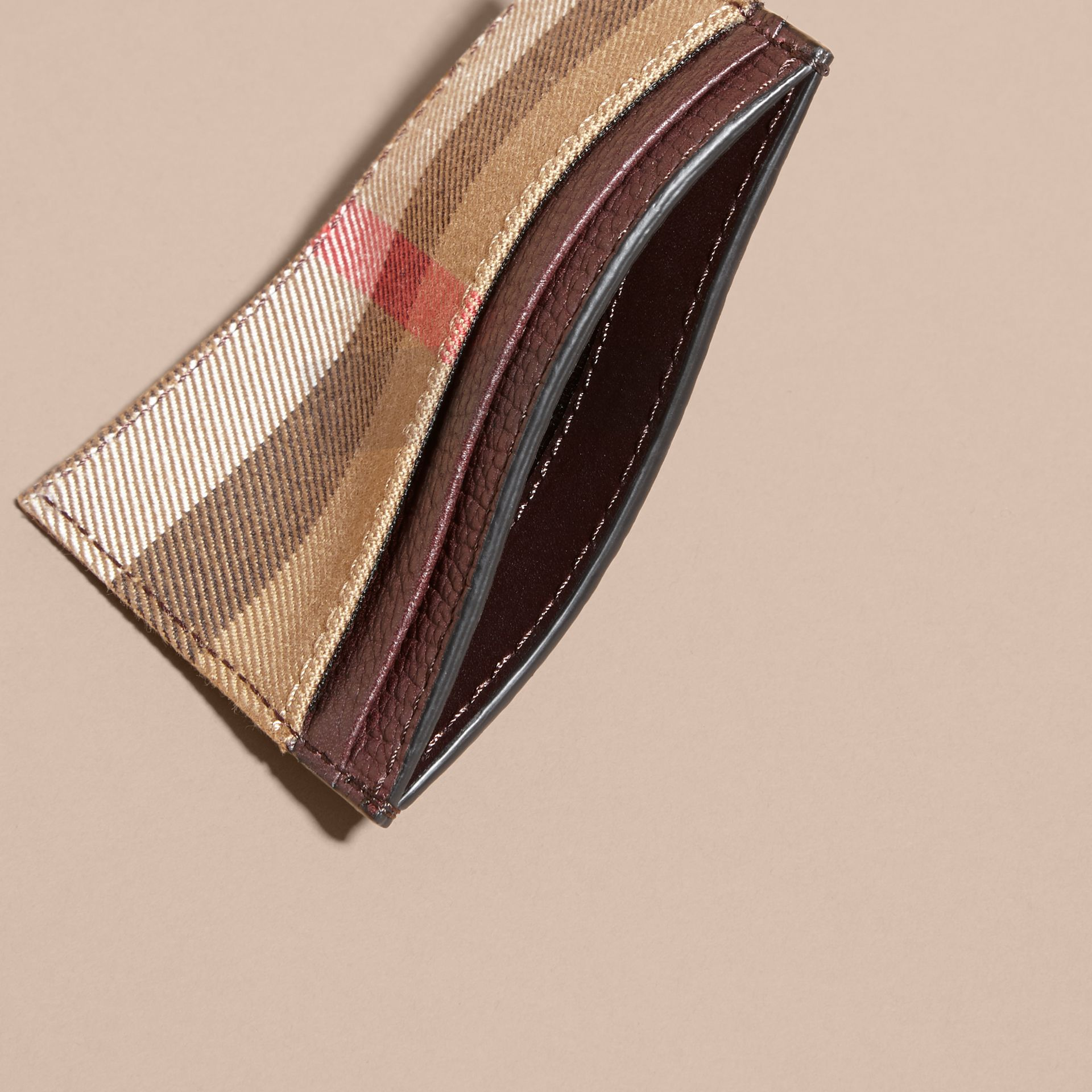 House Check and Grainy Leather Card Case in Wine | Burberry - gallery image 5