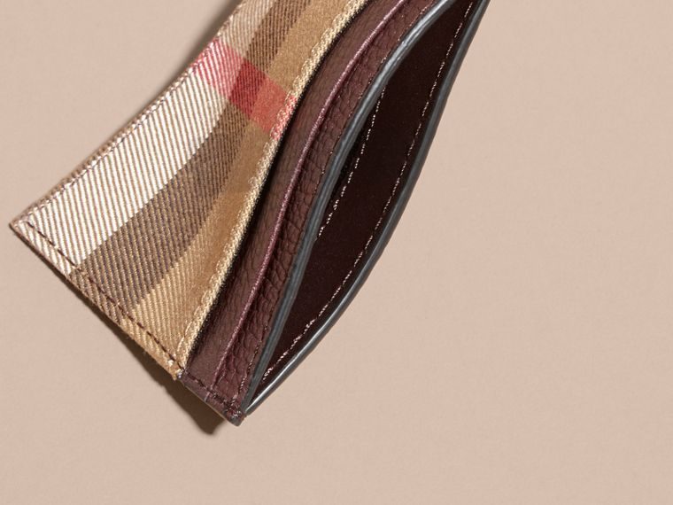 House Check and Grainy Leather Card Case in Wine | Burberry - cell image 4