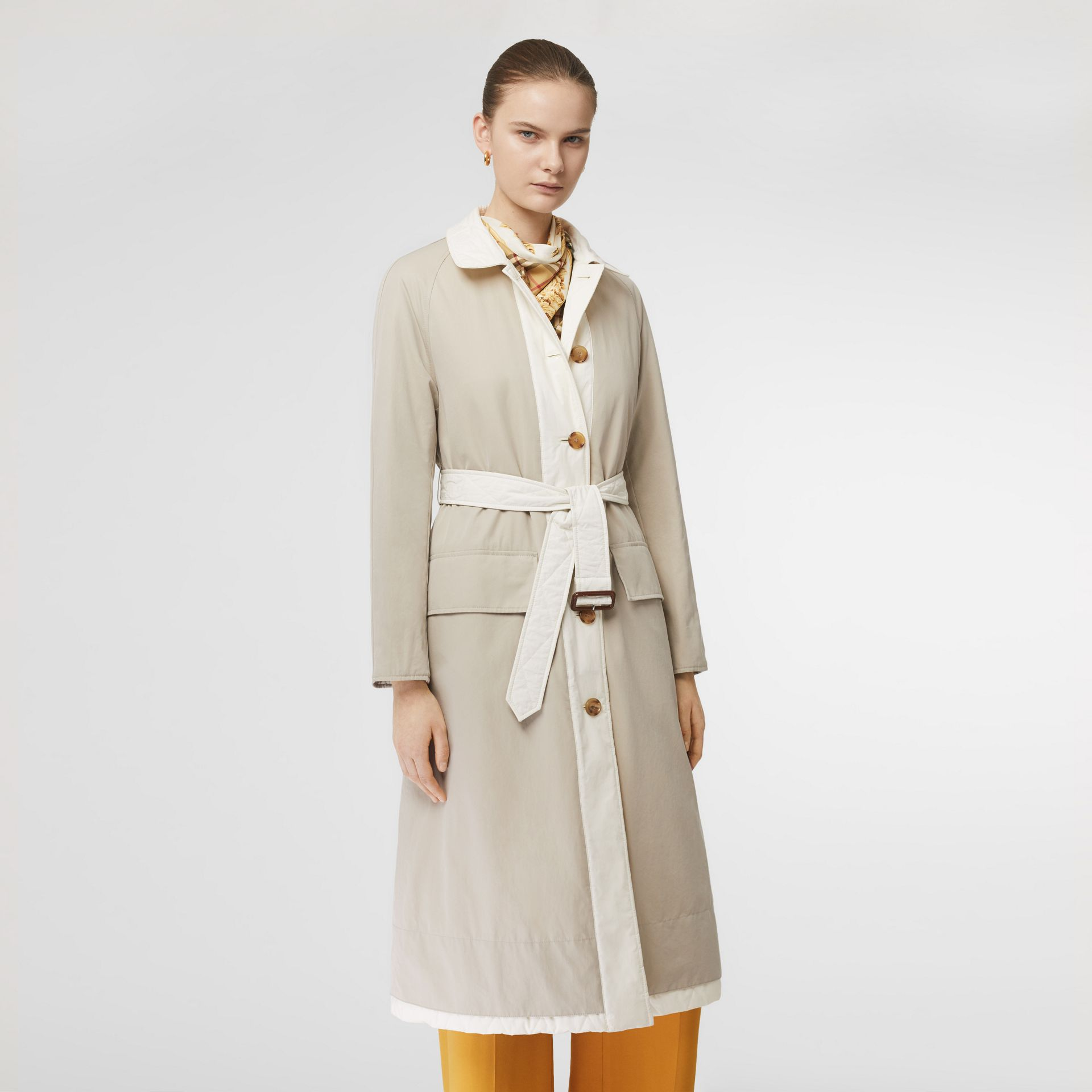 Reversible Contrast Sleeve Quilted Cotton Car Coat in Natural White - Women | Burberry - gallery image 6