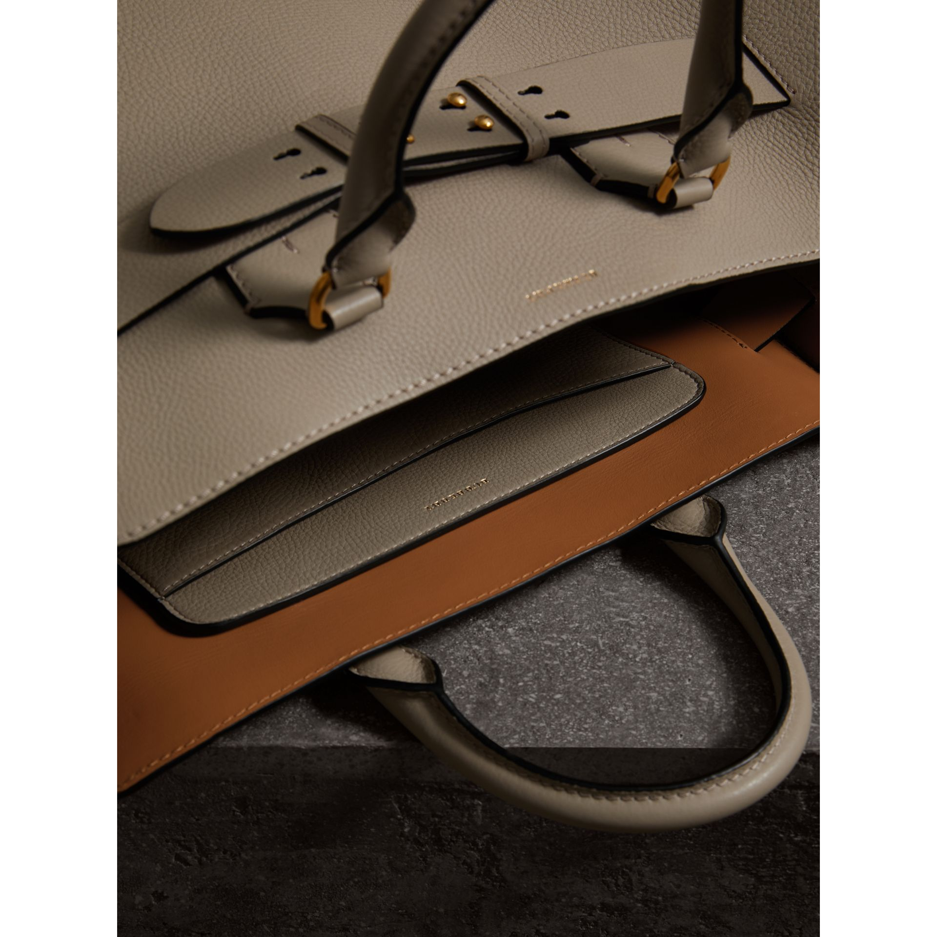 The Large Leather Belt Bag in Mineral Grey | Burberry - gallery image 5