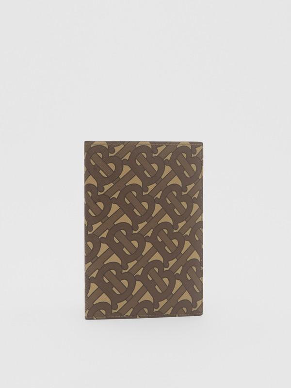 Porta-passaporte de lona ecológica com estampa de monograma (Castanho Couro) - Homens | Burberry - cell image 3