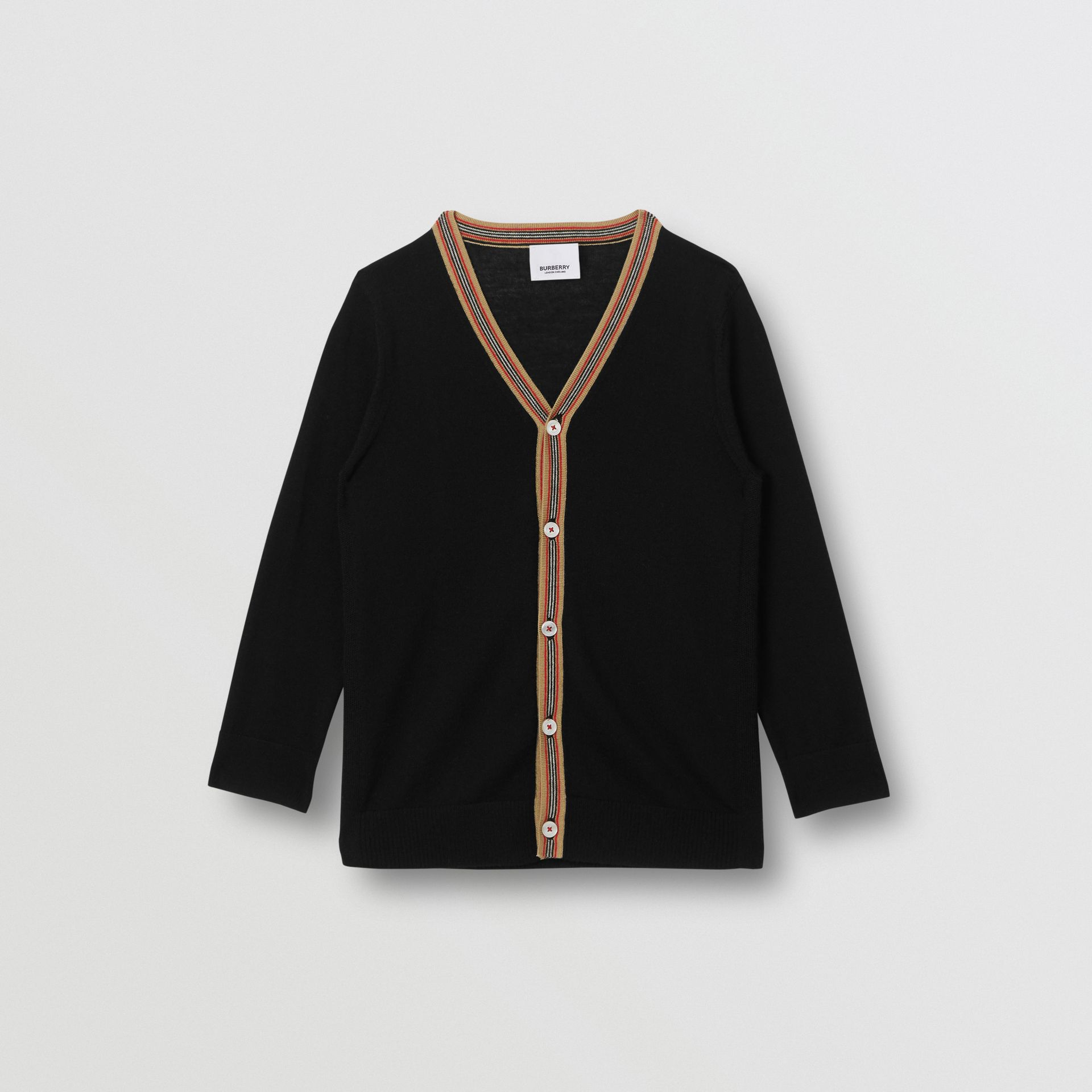Icon Stripe Detail Merino Wool Cardigan in Black | Burberry - gallery image 0