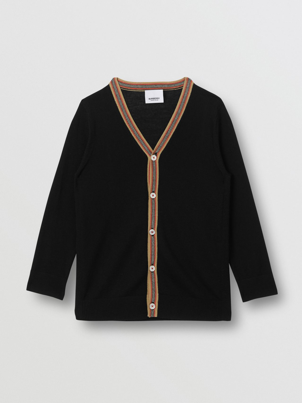 Icon Stripe Detail Merino Wool Cardigan in Black