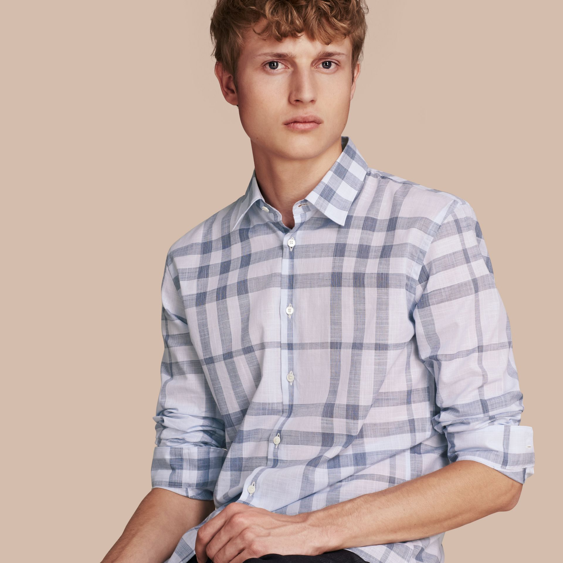 Mineral blue Check Cotton Chambray Shirt Mineral Blue - gallery image 1