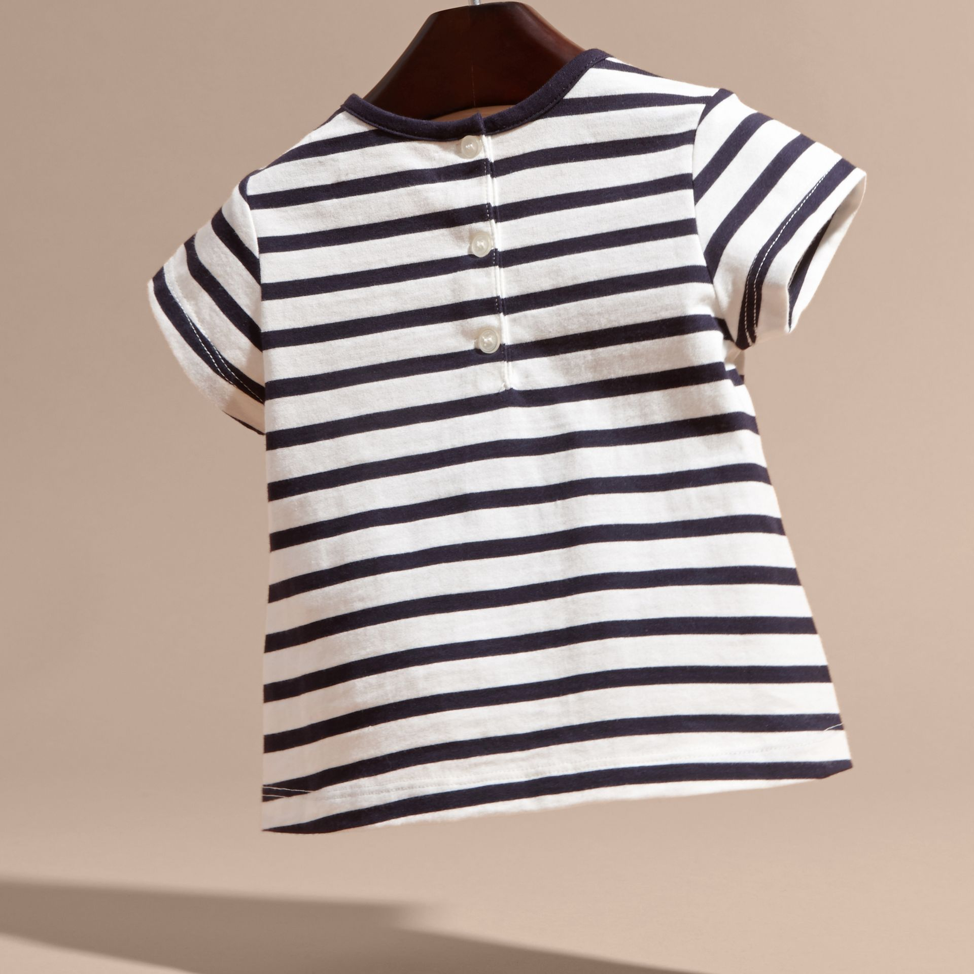 Navy/white Striped Cotton T-shirt with Print and Flower Appliqué - gallery image 4