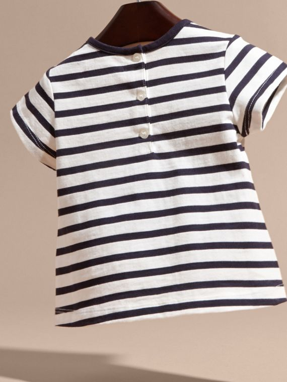 Navy/white Striped Cotton T-shirt with Print and Flower Appliqué - cell image 3