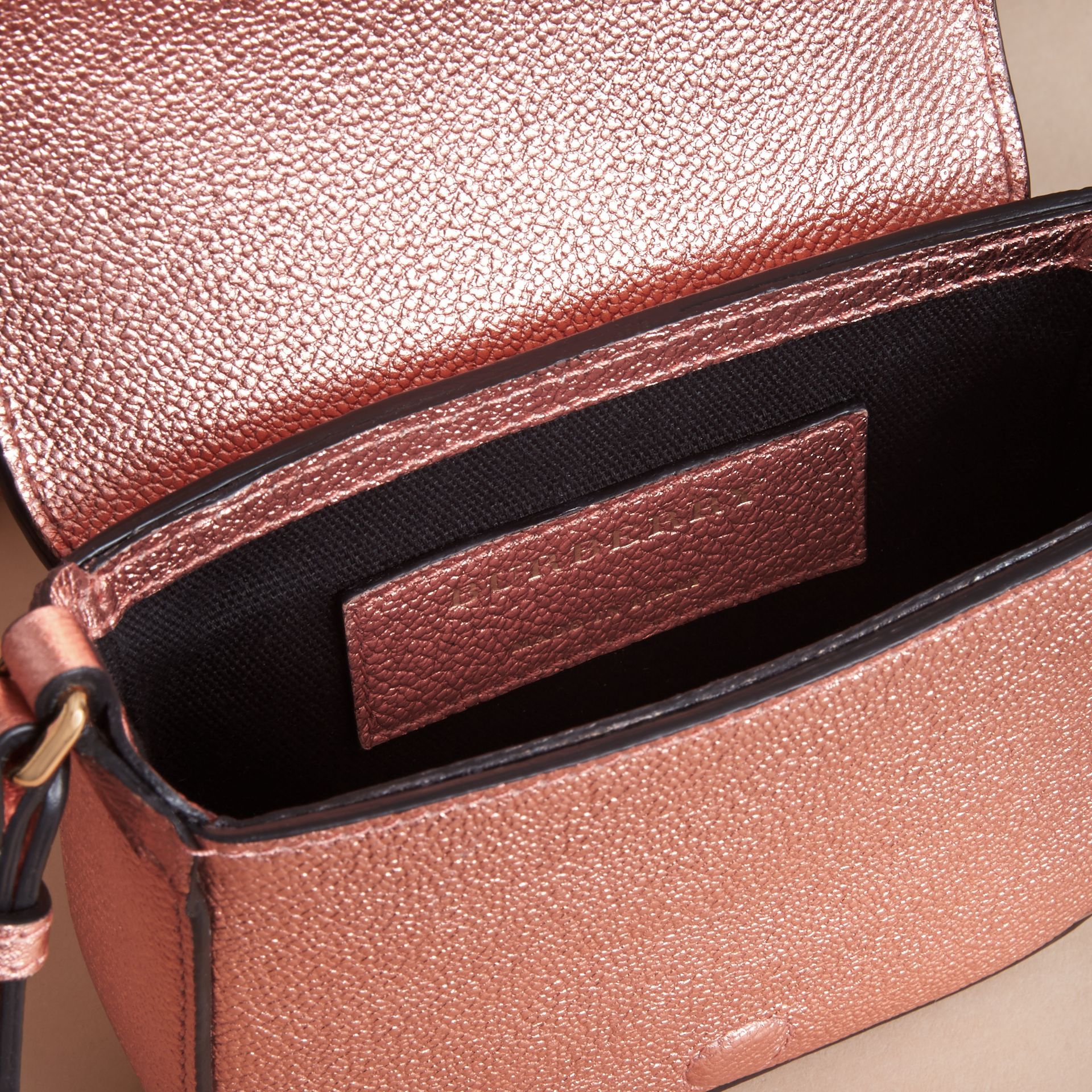 Metallic Leather Crossbody Bag in Copper Pink - Girl | Burberry Australia - gallery image 4