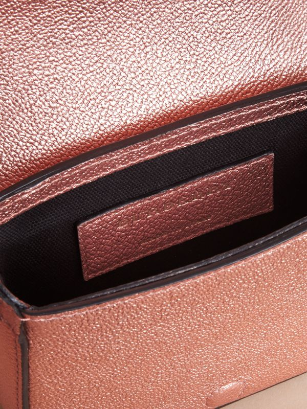 Metallic Leather Crossbody Bag in Copper Pink | Burberry - cell image 3