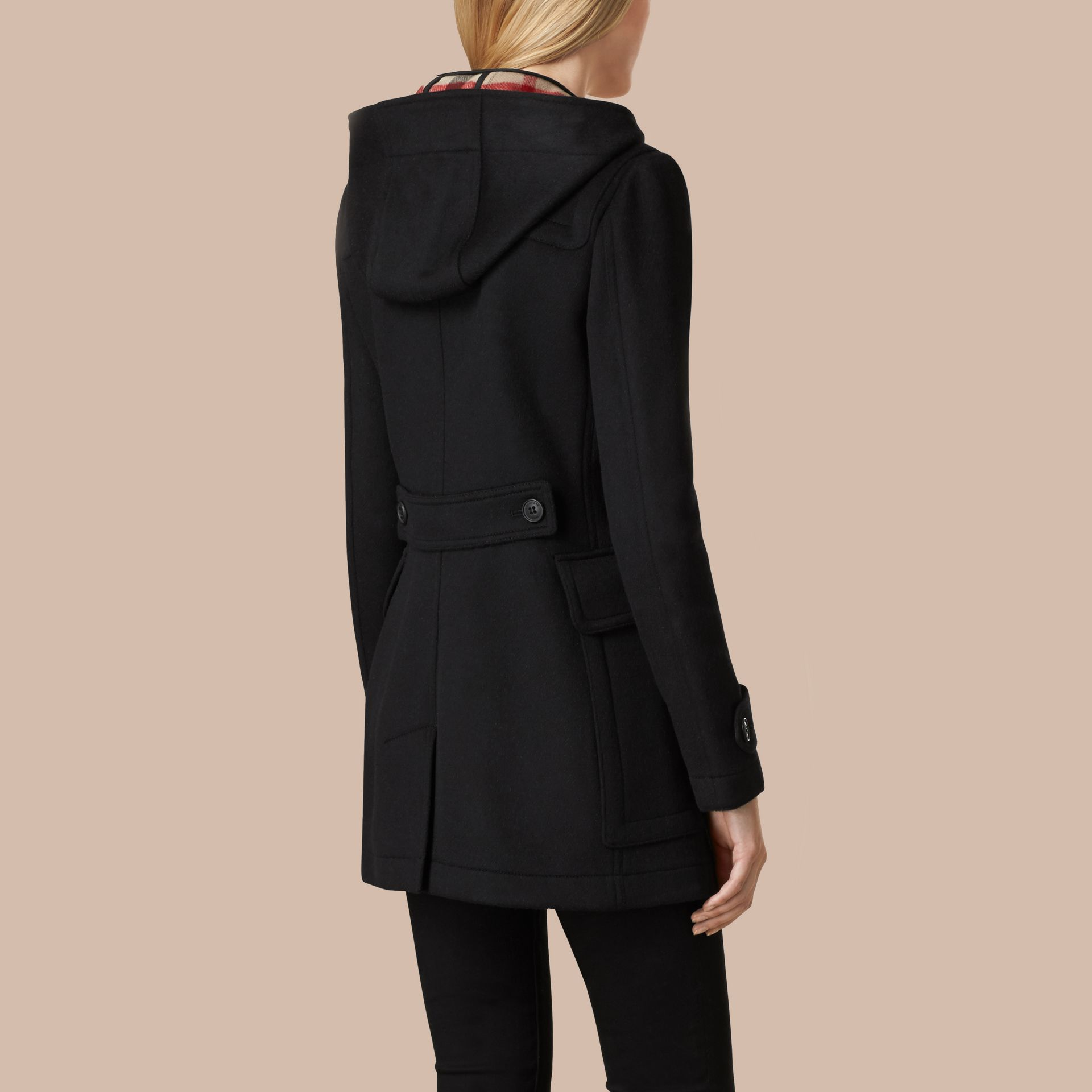 Black Fitted Wool Duffle Coat Black - gallery image 3