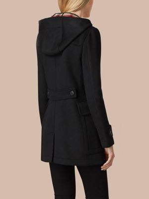 Fitted Wool Duffle Coat Black   Burberry