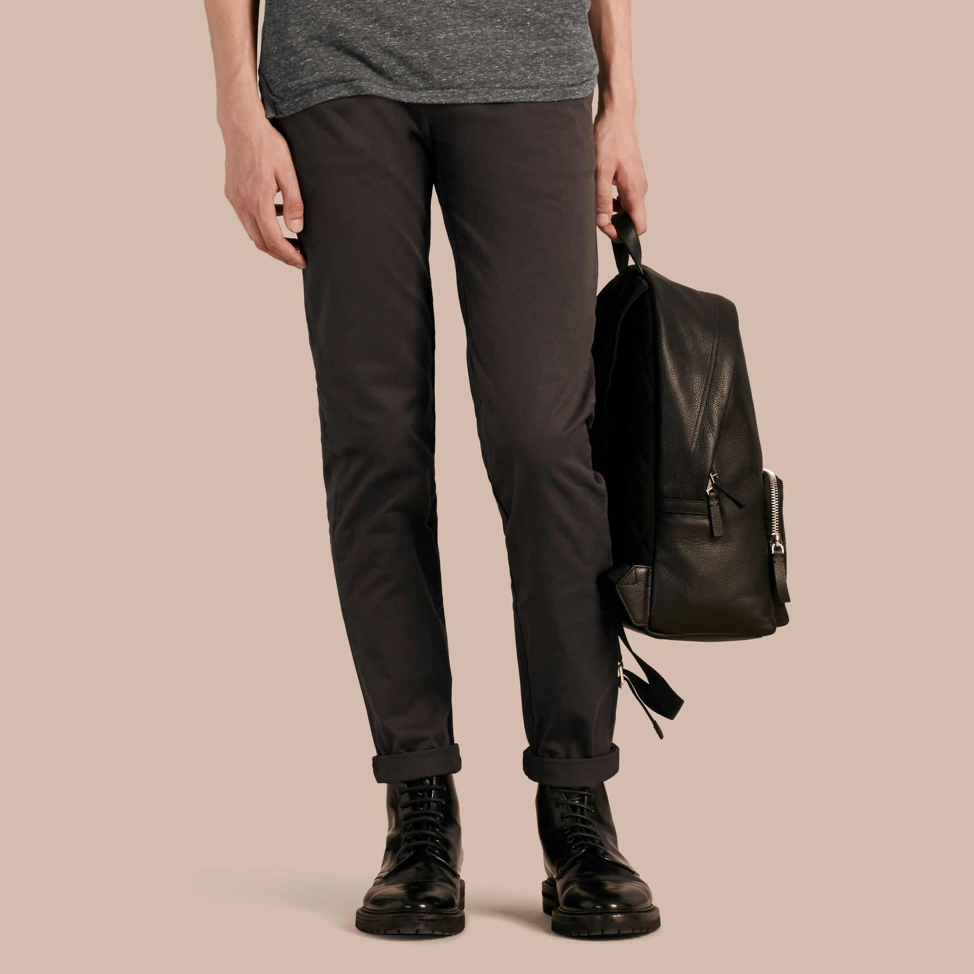 Flint Slim Fit Stretch-Cotton Twill Chinos Flint - gallery image 1