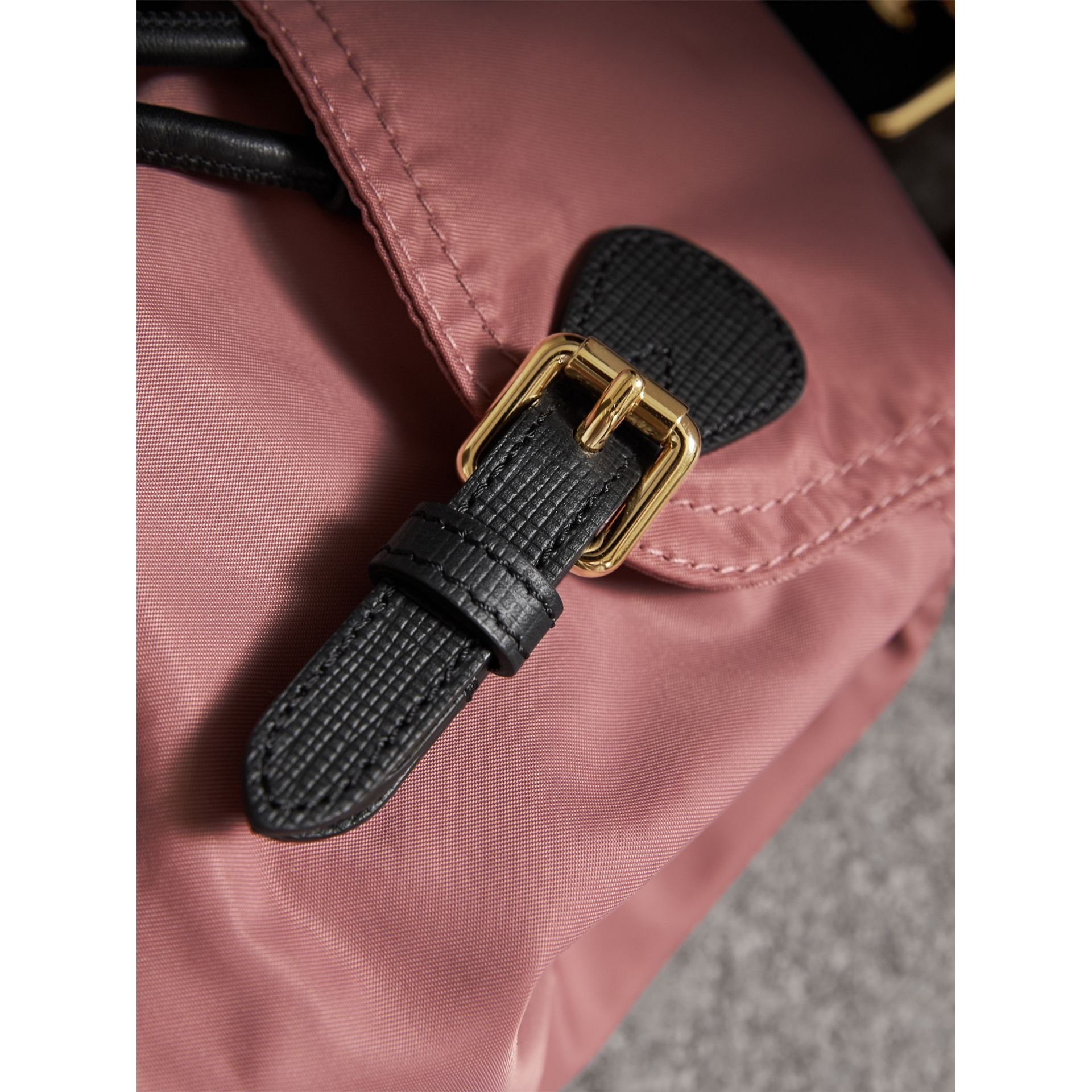 The Small Rucksack in Technical Nylon and Leather in Mauve Pink - Women | Burberry - gallery image 1