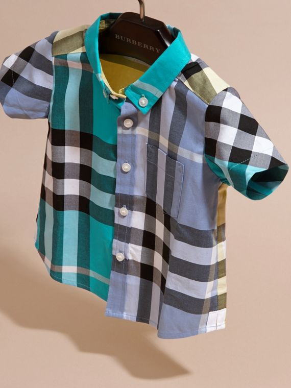 Short-sleeved Contrast Check Cotton Shirt Cyan Green - cell image 2
