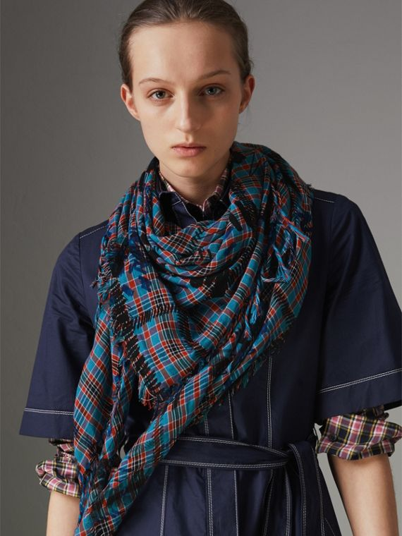 The Burberry Bandana in Scribble Check Cotton Silk in Mineral Blue