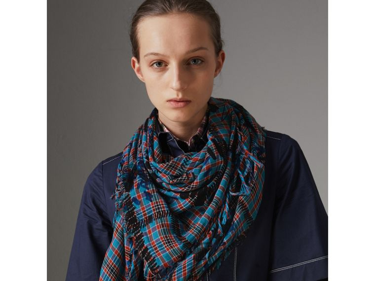 The Burberry Bandana in Scribble Check Cotton Silk in Mineral Blue | Burberry - cell image 4
