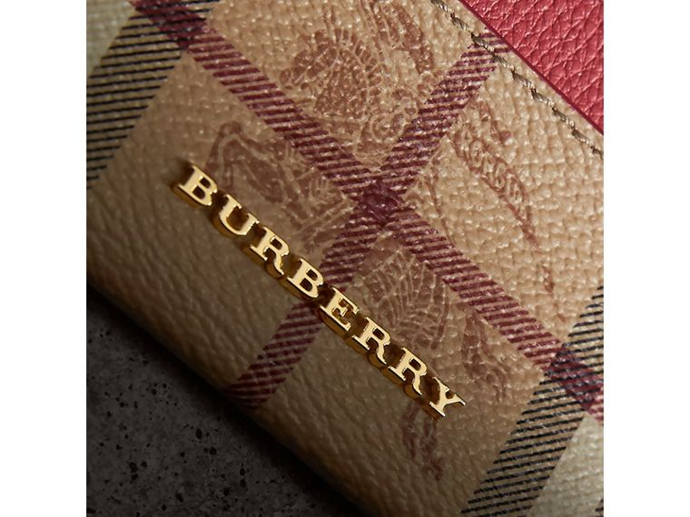 Haymarket Check and Leather Card Case in Coral Red - Women | Burberry United States - cell image 1